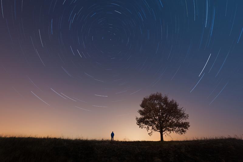 Fotografia startrails zautorem isamotnym drzewem napierwszym planie.