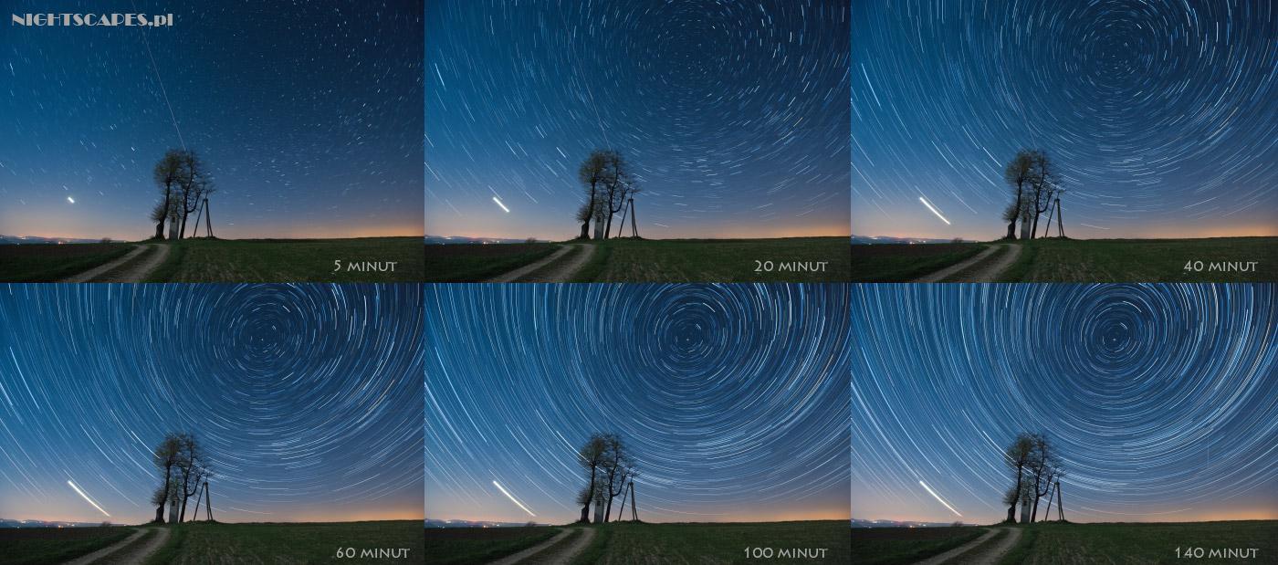 Jak fotografować ruch gwiazd. Przykład różnej długości naświetlania wfotografii startrails.