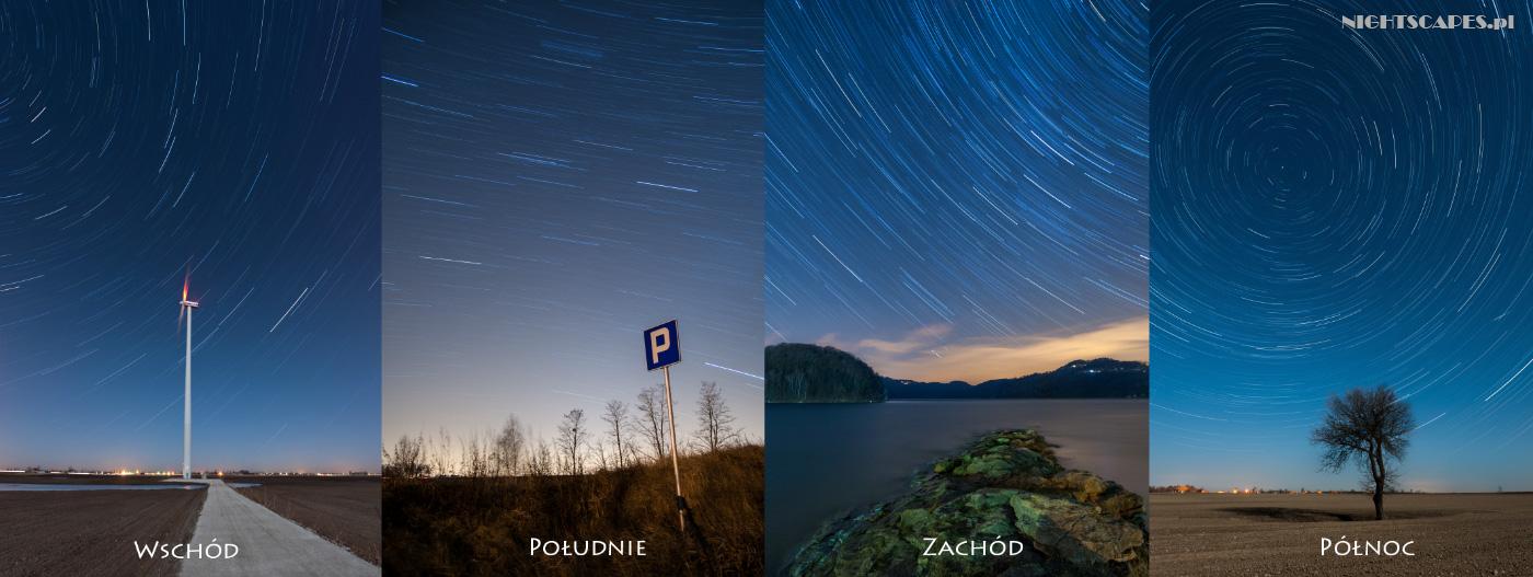 Wpływ kierunku wfotografii ruchu gwiazd