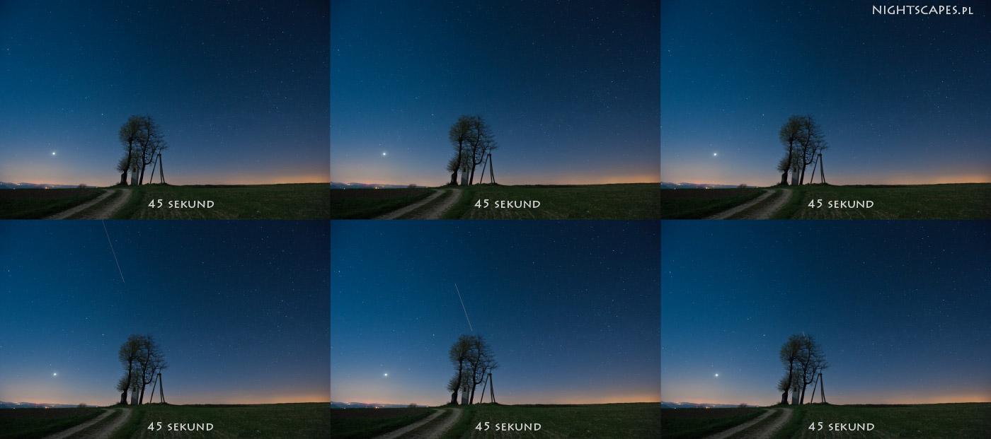 Przykład pojedynczych ujęć zktórychbędzie złożona fotografia ruchu gwiazd