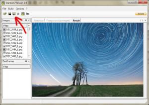Zapisywanie złożonego zdjęcia wprogramie startrails