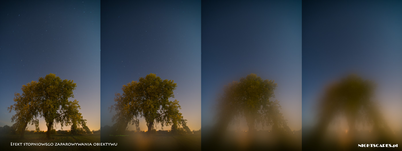 Błędy wfotografii gwiazd: efekt zaparowania obiektywu