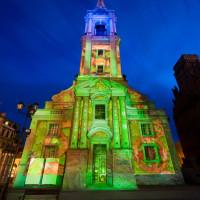 Skyway 2009 mapping 3D na fasadzie kościała św Ducha