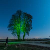 """Oświetlenie pierwszego planu z wykorzystaniem zielonego lasera w opcji """"disco""""."""