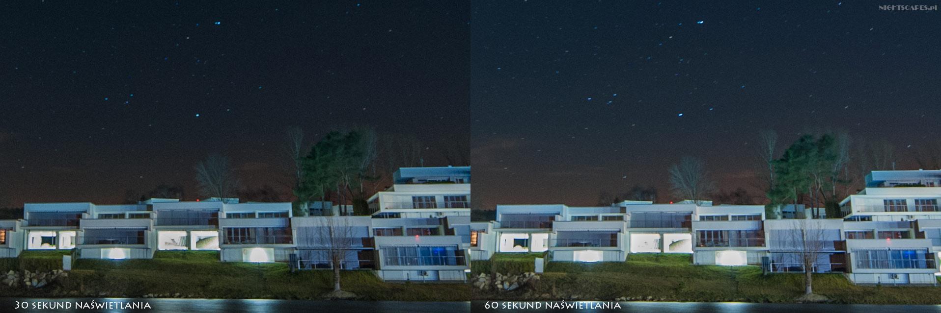 wpływ długości naświetlania wfotografii gwiazd wkierunku północnym