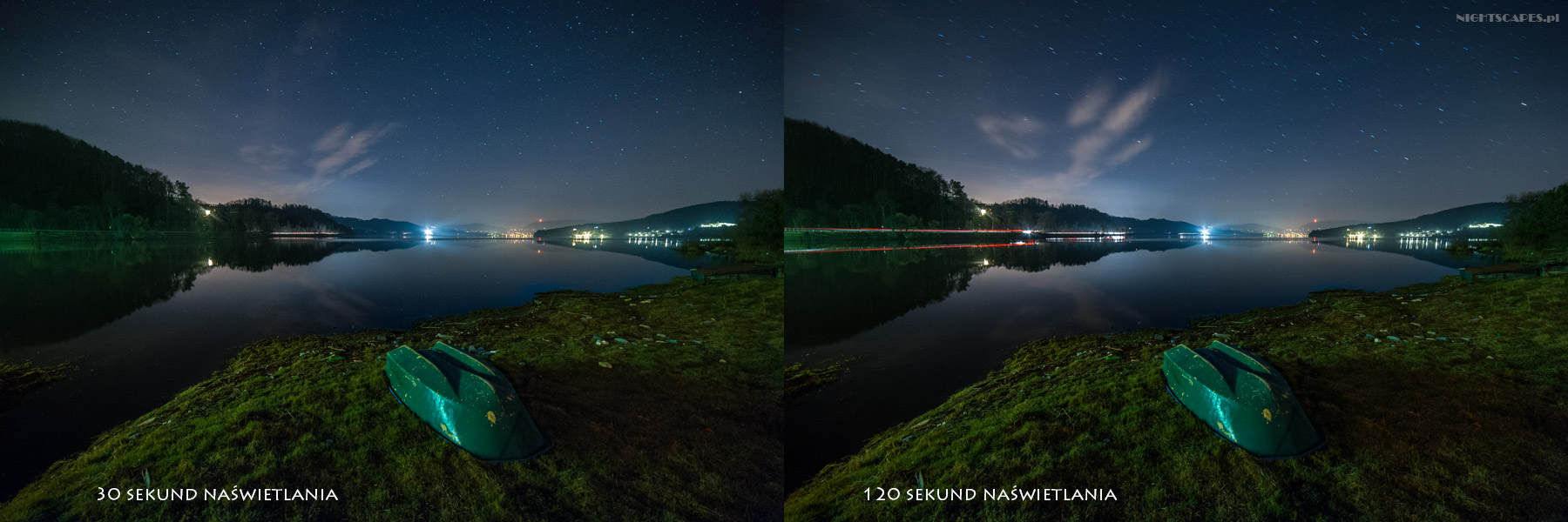 Fotografia gwiazd jako punktów. Wpływ długości naświetlania