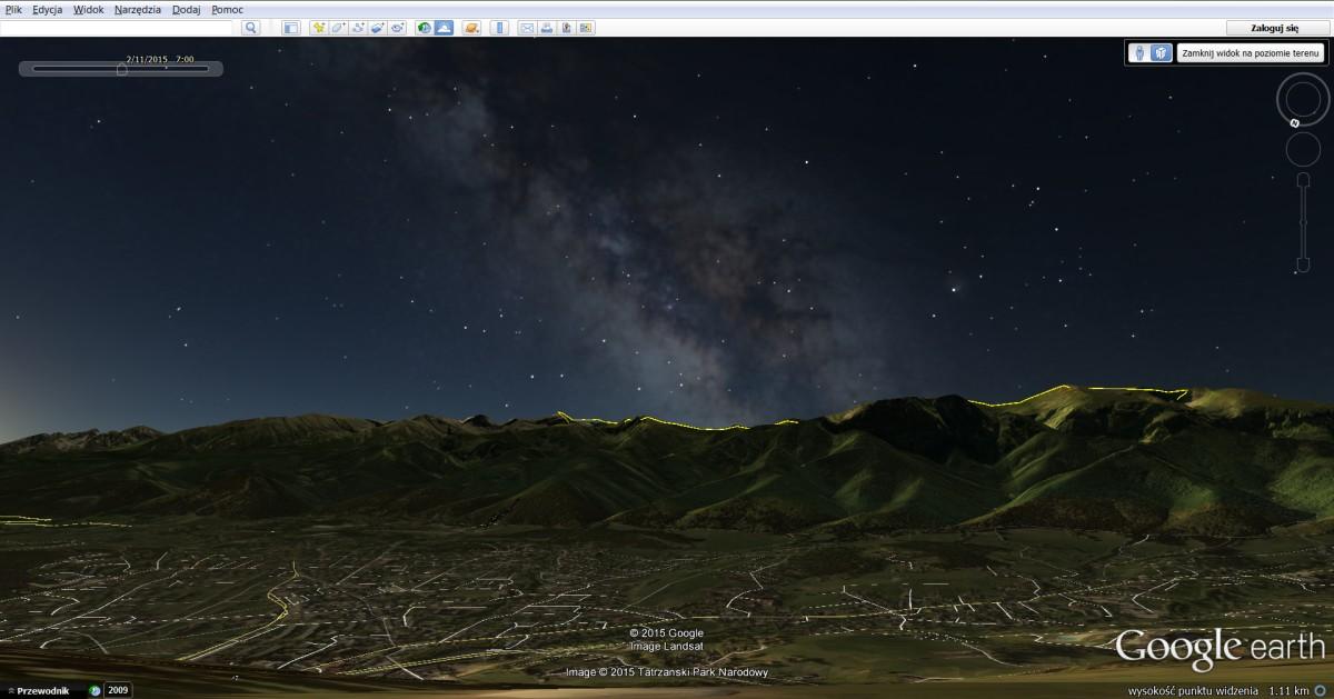 Narzędzia doplanowania iszukania kadru - Google Earth