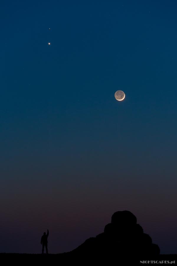 Koniunkcja Wenus, Marsa imłodego Księżyca - luty 2015