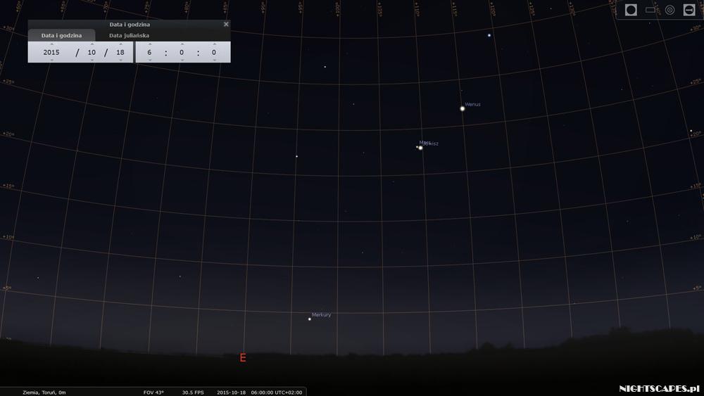Koniunkcja Jowisza iMarsa - 18 października 2015.