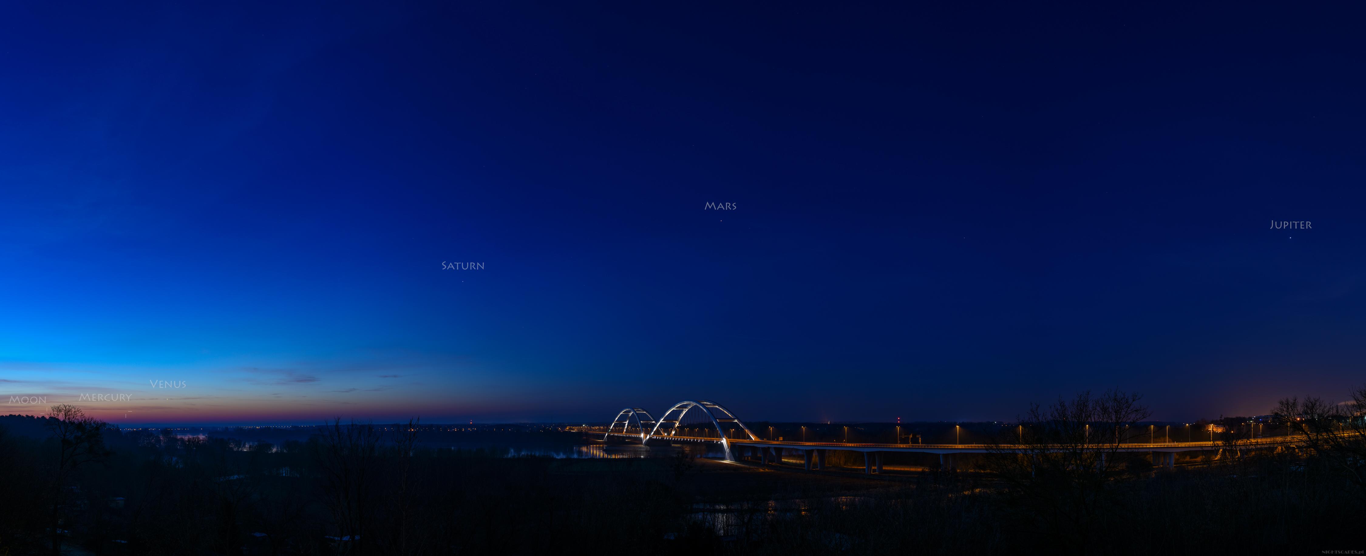 5 planet iKsiężyc wjednej linii