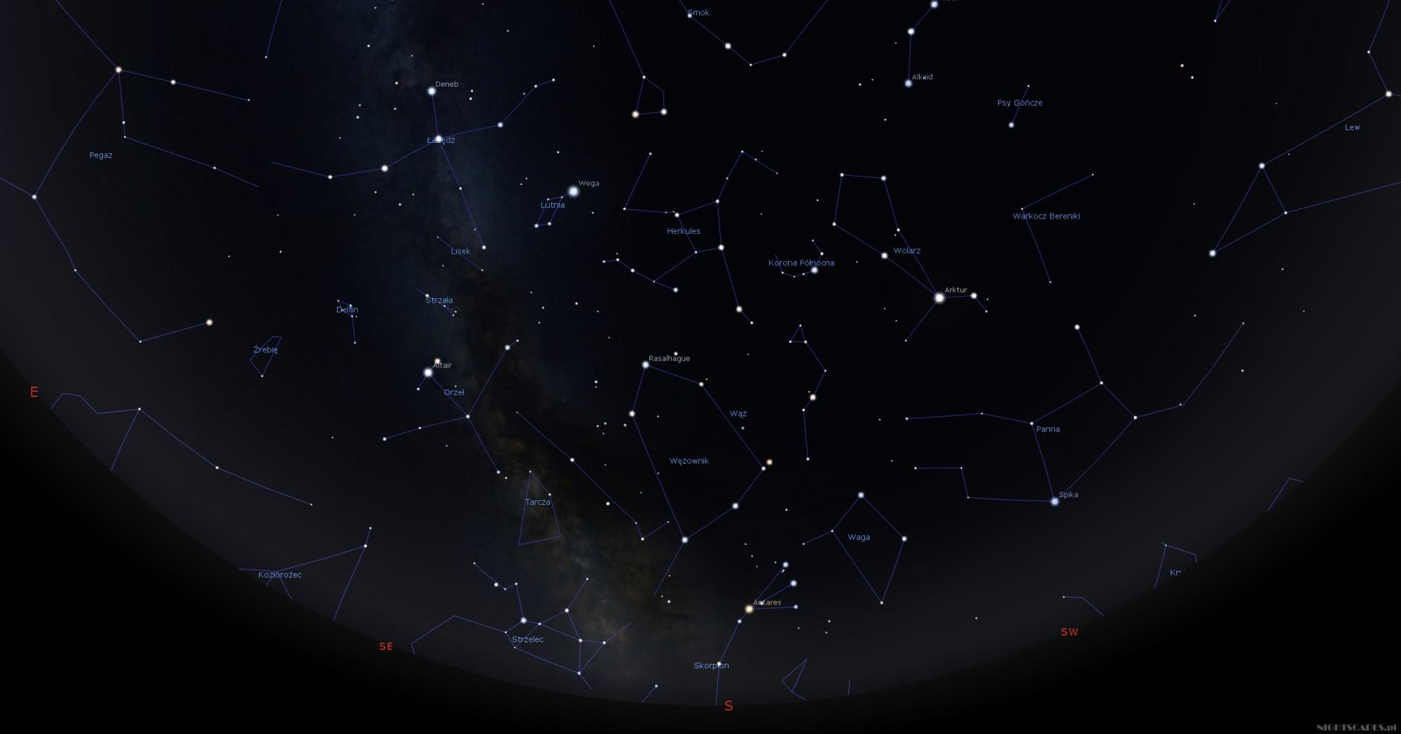 Droga Mleczna natle gwiazdozbiorów