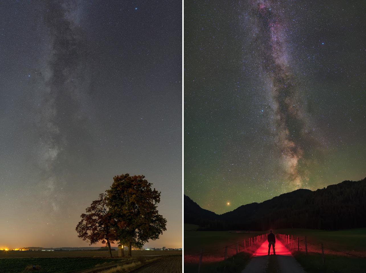 Droga Mleczna sfotografowana wmiejscu odużym zanieczyszczeniu światłem iwgórach przy ciemnym niebie.