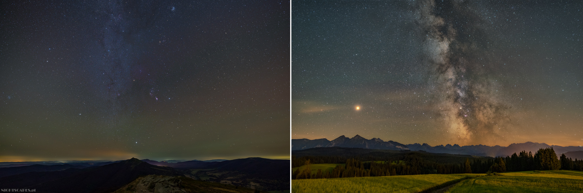 Porównanie zimowej Drogi Mlecznej wBieszczadach (polewej) iletniej Drogi Mlecznej nadTatrami (poprawej).